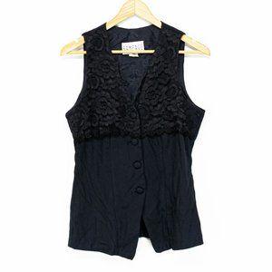 Rampage Black Floral Lace Blazer Tank Vest